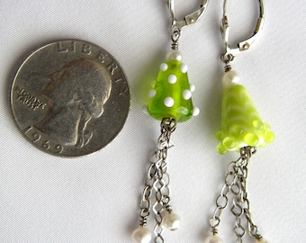 SALE  Cone Shaped Light Green and Lime Green Lampwork Beads, Chain and Pearls Dangle Earrings Sterling Silver Leverbacks