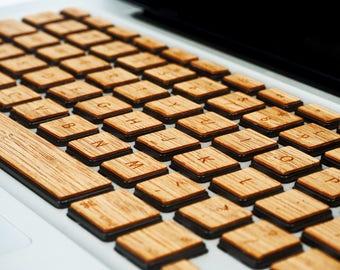 Real Wood Macbook Keyboard Skin for Apple Mac book Air Pro 13 15 - Mac Keyboard Skin - Mac Wood Skin - Bamboo wood Mac book keyboard skin