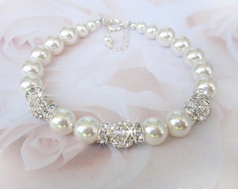 Pearl and Rhinestone Bridal Bracelet, Pearl and Rhinestone Wedding Bracelet, Wedding Jewelry White, Ivory Pearls, Swarovski, Sterling Silver