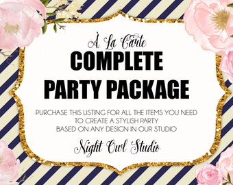 Printable Party Package-Complete Party Package-Party Printables-Made To Match-Party Decor-Add on