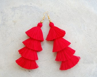Four Tiered Red Tassel Earrings