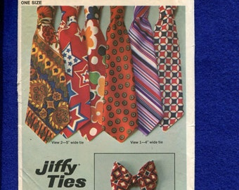 1970's Simplicity 9400 Retro Flashback Ultra Wide Neck Ties & Bow Tie One Size Pattern