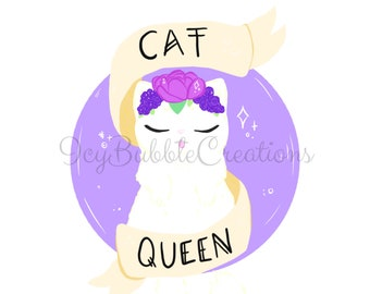 Digital Download Only Print - Cat Queen Flower Crown Design