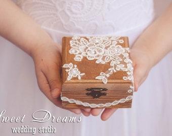 Rustic Ring Box, Lace Ring Box, Ring Box, Ring Bearer Pillow, Wood Ring Box, Wedding Ring Box, Burlap Wedding Ring Pillow,Rustic Ring Pillow