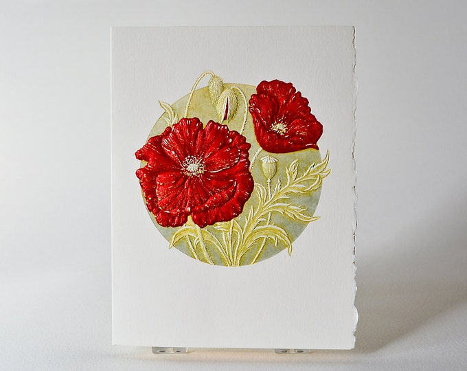 Poppy Note Card Letterpress Red Flower Embossed Remembrance Day Card Single Card. Blank inside.