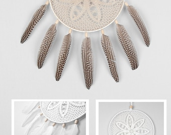 Beige Dream Catcher, Crochet Doily Dreamcatcher, boho dreamcatchers, wall hanging, wall decor, wedding decor, handmade