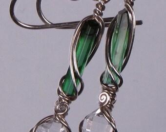 Bicolor, Brazilian TOURMALINE & HERKIMER Diamond Quartz CRYSTALS in Argentium Sterling Silver Dangle Earrings