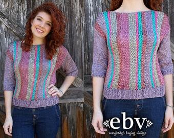 Vintage Sweater Vintage Jumper Vintage Knit Purple Sweater Striped Sweater Vintage 80's Purple Striped Sweater Jumper S M
