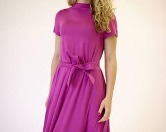 SALE pink summer dress, pink dress short sleeve, fuchsia dress, midi length dress, casual midi dress pink dress summer knee length dress