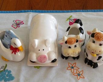 Kitchen, Farm, Pig,Butter Keeper, Cow, Sugar and Creamer, Goose, Mothers Day, Birthday, Retro Farm, Farm Decor, Farm animals