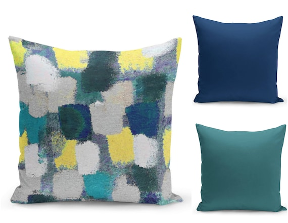 Navy And Teal Throw Pillows: Colorful Pillow Covers Teal Navy Yellow Grey Home Decor