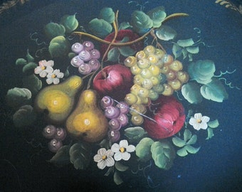 Large Black Tole Tray Handpainted Fruit SALE