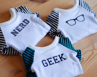 White Geek / Nerd / Glasses top dress with stripy sleeves - SD Delf BJD clothes