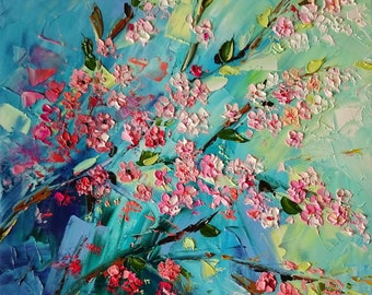 Wild cherry; Original palette knife oil painting; cherry painting; sakura oil painting; cherry branch