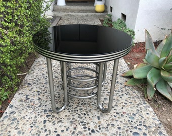Art Deco Streamline Tubular Chrome and Glass Table (Los Angeles)