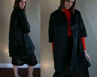 Vintage 1960's Black Satin Swing Coat, Women's Coat, 60's Jacket, by Robert Hyman Milwaukee