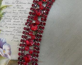1950s Wide 5 Row Red Rhinestone Bracelet    PY19
