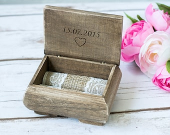 Rustic Wedding Ring Box Personalized Holder Ring Holder Ring Bearer His Hers Country Wedding Ring pillow