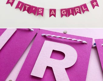 Baby Shower Decoration - Baby Shower Garland - New Baby Banner - Handmade Party Banner - It's A Girl - Paper Party Decoration