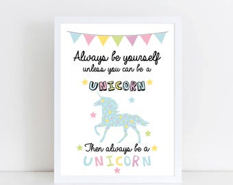 Unicorn Print - Unicorn decor - Unicorn art - Unicorn Nursery Decor - Unicorn wall art - Unicorn Prints - Unicorn Quote - Girls Bedroom art
