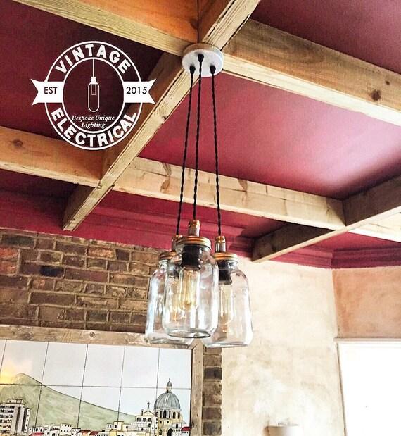 The kelling 3 x kilner hanging mason jar lights ceiling for Kelling designs