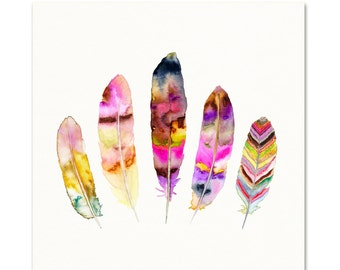 Pink and Purple Watercolor Feather Illustration.  Boho Feather Painting.  Pink Watercolor Wall Art. Colorful Bohemian Feather Art Print.
