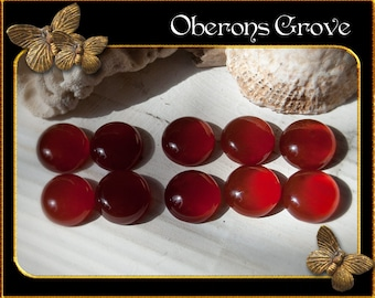 10 firebrick red agate cabochons 10x5mm