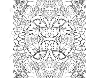 Adult coloring page, kaleidoscope, flower, butterfly, swirl, leaf, peony, stylized flower.  Spring Flowers. PDF