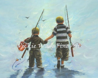Two Little Boys Going Fishing Art Print two boys fishing childrens wall art boys room, kids decor, boy decor, two brothers fishing paintings