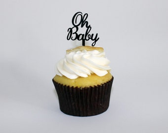 Oh Baby Cupcake Toppers - Baby Shower - Set of 6 Laser Cut Acrylic Food Picks