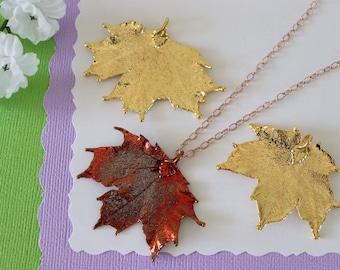 Gold Sugar Maple Leaf Necklace, Real Leaf Necklace, Maple Leaf, Rose Gold Leaf Necklace, Canadian Maple, Long Leaf, Leaf Pendant LC237