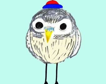 New Born Owl. illustration art print for kids and nursery children's illustration.