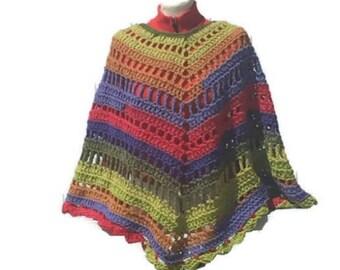 Crochet Poncho Colorful Poncho Shawl Hand Crocheted Wrap Hippie Bogo Poncho Retro Fashion