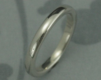 The Substantial Solid 14K Gold Wedding Band--Thick 2.5mm by 2mm Rounded Band in Solid 14K White, Rose, or Yellow Gold