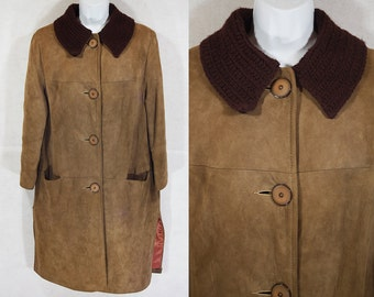 10 Dollar Sale---Vintage 60's Brown Soft Suede Leather Brown Coat M/L