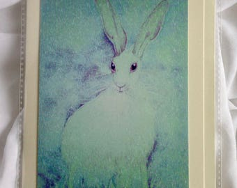 Hare in Snow, Hare Art Card
