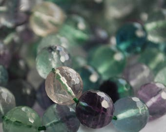 """High Quality Grade A Natural Rainbow Fluorite Semi-precious Gemstone Faceted Round Beads - 6mm, 8mm, 10mm sizes - Approx 15"""" strand"""