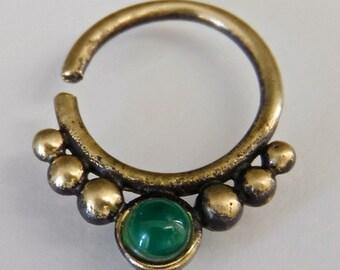 Tri-Dev Green Onyx Brass Septum Ring - Septum Jewelry - Septum Piercing - 16G Septum Ring - Indian Septum Ring - Tribal Septum Ring (OB19)