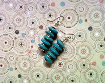 Aqua Blue Ceramic Disk Earrings (2096)