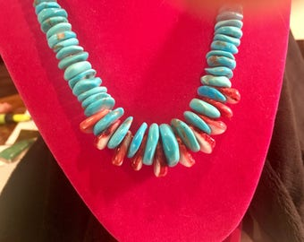 Genuine Turquoise and Carnelian Necklace