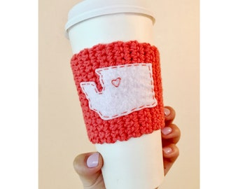Washington State Knitted Coffee Cozy // Peach Coral Cozy // Reusable Coffee Cozy // Eco-friendly // PNW Coffee Cozy
