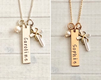 1st Communion Necklace, Confirmation Necklace, Confirmation Sponsor Gift, 1st Communion Jewelry, Cross, Infinity Necklace, God Daughter