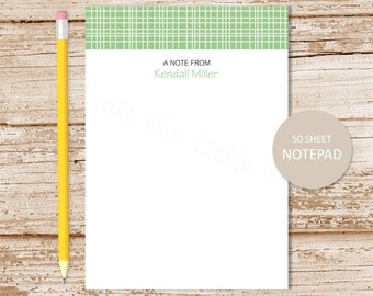personalized notepad . plaid notepad . plaid border note pad . pinstripes . personalized stationery . stripes stationary