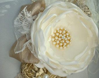 Ivory Flower Girl Headband, Gold Headband, Baby Headband, Christmas Headband, Dollcake Headband, Wedding Headband, Headbands, Hairbow, Hair