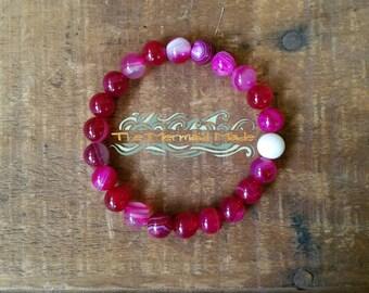 Raspberry Kisses Bracelet + Wrist Mala + Spiritual Jewelry + Stackable Bracelet + Yoga Jewelry
