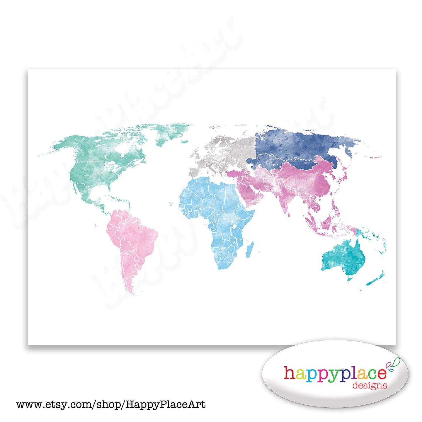Beautiful world map etsy home maps home maps pretty pink world map wall art poster with personalise option gumiabroncs Image collections