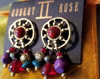 Vintage 1970's Robert Rose Boho Tribal Earrings.
