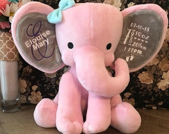 Personalized Baby gift, Birth Stat Gift, Birth Stat Animal, Stuffed Animal, Baby Shower Gift, Baby Girl Gift, Baby Boy Gift