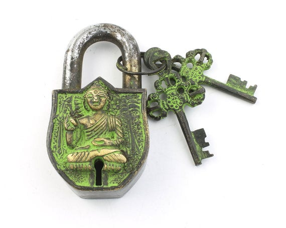 Temple Lock & Key Set, Solid Brass, Antique, Alter Ornament, Vintage Lock, Buddha,  Hindu Artifact, Home Decor,  Hardware Accessories