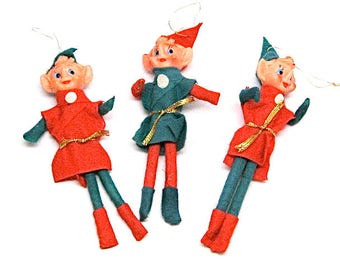 Elf Ornaments, Knee Hugger, Pixie, Christmas Decoration, Ornaments, Red, Green and Gold, 1980